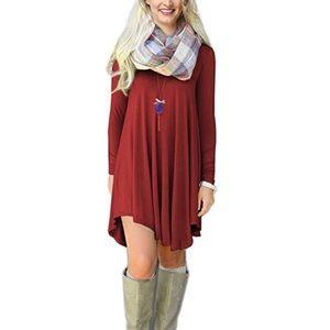Dresses & Skirts - Woman's long sleeve V-neck casual T-shirt dress